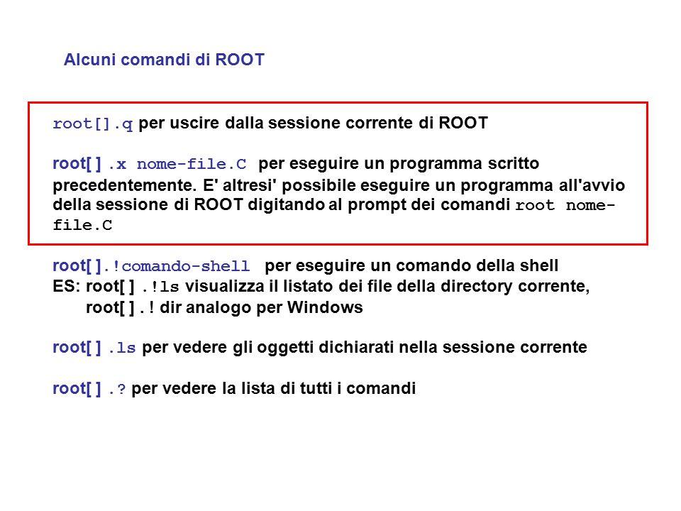 Alcuni comandi di ROOT root[].q per uscire dalla sessione corrente di ROOT.